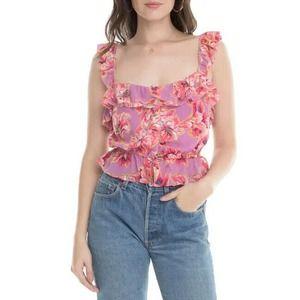 ASTR the Label Sherri Floral Ruffle Sleeveless Top